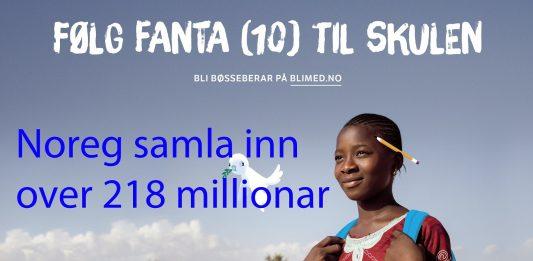 TV-aksjonen på NRK samla inn over 218 millionar korner. (Illustrasjon: Blimed.no)