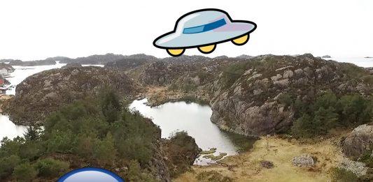 Er det ein UFO som har laga ringen? Forskarar har forklart at dersom ringen på Espevær er laga av noko mekanisk, må det ha voge over 50 tonn. Foto: skjermgrabb/ NRK
