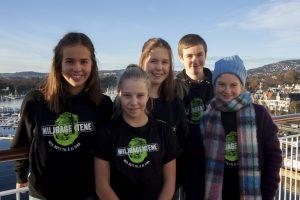 Kristiane, Emma, Kaja, Aron og Penelope frå Barna sitt klimapanel var på plass under klimatoppmøtet. Foto: Miljøagentene
