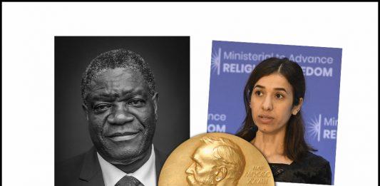 Fredsprisvinnarar: Den kongolesiske gynekologen Denis Mukwege og IS-overlevande Nadia Murad. (Foto av Denis: Wikipedia/CC BY-SA 3.9/Claude Tround-Ngoc. Nadia: Wikipedia/offentleg eigendom).