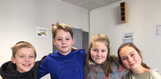 Frå Venstre: Waldemar Stefan Jordet (11), Anker Wilson (11), Michelle Bye-Bartvik (11) og Molly Bjørndal Leborg (11)